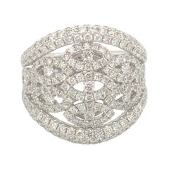 2.48 Carat of Diamonds White Gold Pavé Ring Italy with Box