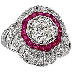2.48 Carat Old European Cut Diamond and Ruby Ring 18 Karat White Gold