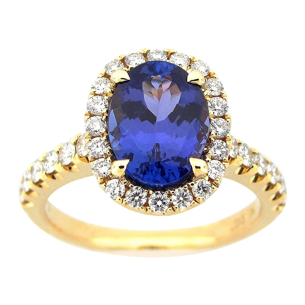 2.48 Carat Oval Tanzanite and Diamond Ring