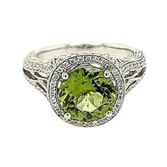 2.48 Carat Peridot and Diamond Cocktail Ring