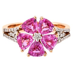 2.48 Carat Pink Sapphire Ring in 18 Karat Rose Gold with Diamonds