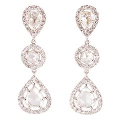 2.48 Carat Rose-Cut Diamond White Gold Earrings