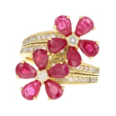 2.48 Carat Ruby Diamond 14 Karat Yellow Gold Cocktail Ring