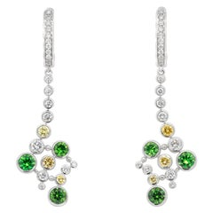 2.48 Carat Russian Demantoid 18 Karat White Gold Yellow Diamond Drop Earrings