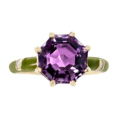2.48 Ct. Octagonal Amethyst with Green and White Enamel, 14k Yellow Gold