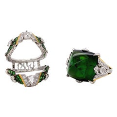 24.82 Carat Unheated Sugarloaf Green Tourmaline Collectible Ring