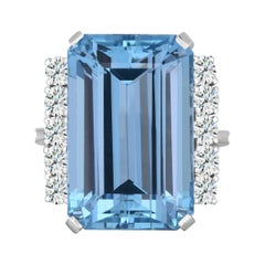 24.85 Carat Emerald Cut Aquamarine Cocktail Ring with Diamond in 14 Karat Gold