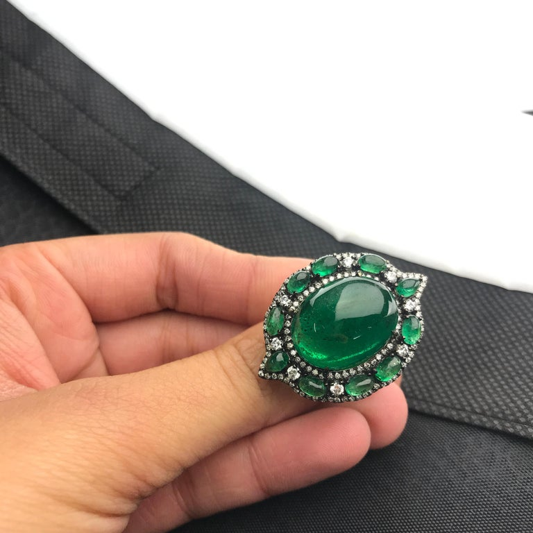 Art Deco 24.88 Carat Emerald Cabochon and Diamond Cocktail Ring For Sale