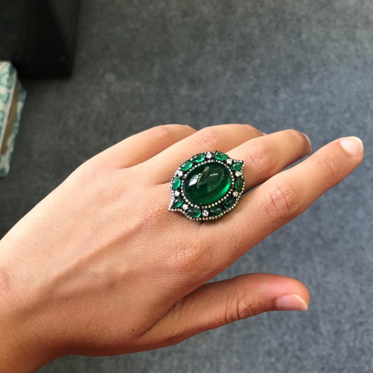 Oval Cut 24.88 Carat Emerald Cabochon and Diamond Cocktail Ring For Sale
