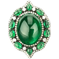 24.88 Carat Emerald Cabochon and Diamond Cocktail Ring