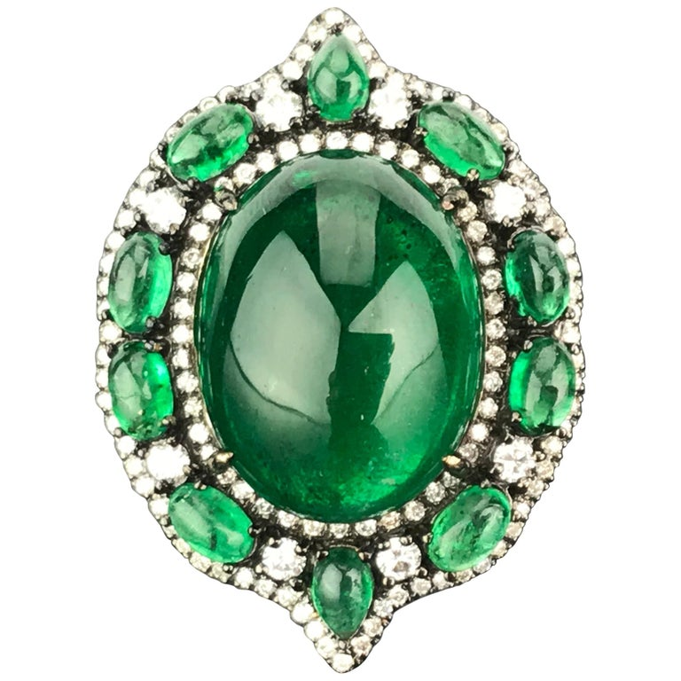 24.88 Carat Emerald Cabochon and Diamond Cocktail Ring For Sale