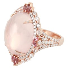24.88 Carat Rose Quartz Diamond 18 Karat Gold Ring