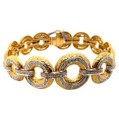 2.48ct Diamond Retro Style Hammer Finished 18k Yellow Gold Bracelet