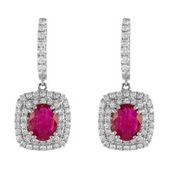 2.48ct Oval Ruby with Double Diamond Halo Drop Earrings 18k White Gold