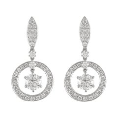 2.48ct Round Diamond Drop Earrings 18k White Gold