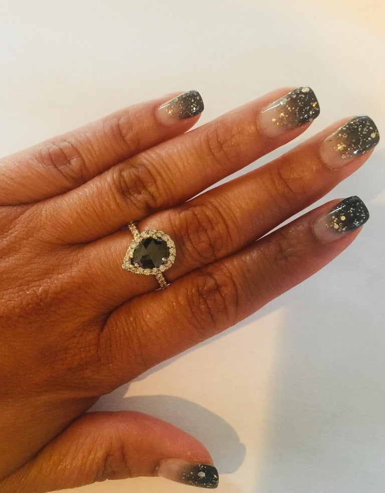 2.49 Carat Black Diamond 14 Karat White Gold Halo Engagement Ring In New Condition For Sale In San Dimas, CA