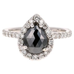 2.49 Carat Black Diamond 14 Karat White Gold Halo Engagement Ring