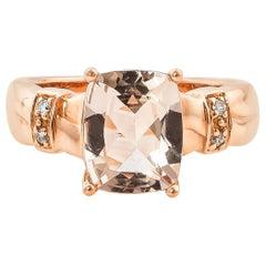 2.49 Carat Cushion Shaped Morganite Ring in 18 Karat Rose Gold with Diamonds