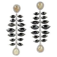 24.9 Carat Diamond 18 Karat Gold Onyx Earrings