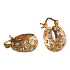 2.49 Carat Diamond Gold Hoops by Lauren Harper