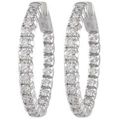 2.49 Carat Diamond Hoop Earrings White Gold