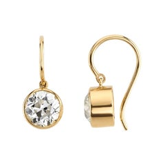 2.49 Carat GIA Certified Old European Cut Diamonds Set in 18 Karat Gold Earrings