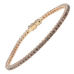 2.49 Carat Grey Diamonds 18 Karat Pink Gold Tennis Bracelet
