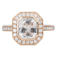 2.49 Carat Light Peach Sapphire Diamond Halo 14 Karat Rose Gold Ring AD1935