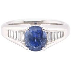 2.49 Carat Natural Sapphire and Diamond Ring Set in Platinum