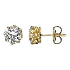 2.49 Carat Old European Cut Diamonds Set in 18 Karat Yellow Gold Studs