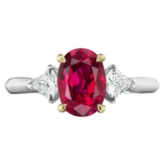 2.49 Carat Conflict Free Oval Ruby GIA Certified from Thailand Set with Kites