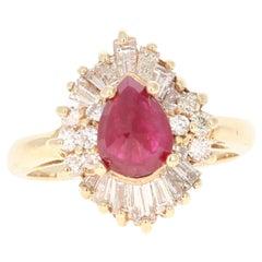2.49 Carat Ruby Diamond 14 Karat Yellow Gold Ballerina Ring