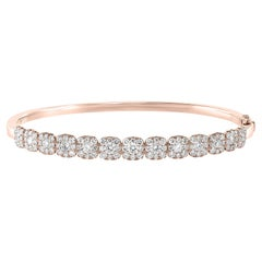2.49 Carat Total Round Diamond Bangle in 18K Rose Gold