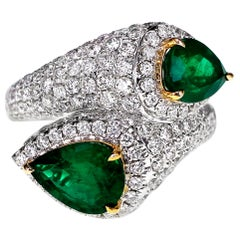 2.49 Carat Vivid Green Emerald and 2.18 Carat Diamond Twin Cocktail Party Ring