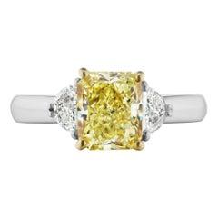 2.49 Carat Yellow Diamond Fancy-Color Three Stone Ring