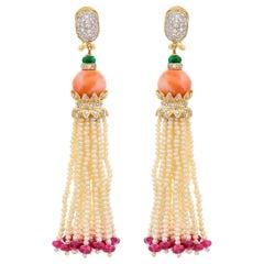 24.90 Carat Coral Emerald Fresh Water Pearl Tassel Earring