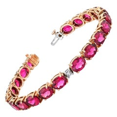 24.90 ct. t.w. Hot Pink Rubellite Tourmaline & Diamond 18k Gold Tennis Bracelet
