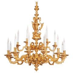24-Karat Gilded Bronze 18 Light Louis XIV Chandelier