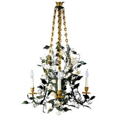 "24-Karat Gilded Bronze with Porcelain Flowers ""Pompadour"" Chandelier"