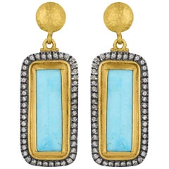 24K Gold and Oxidized Sterling Silver Kingman Turquoise Diamond Earring Drops