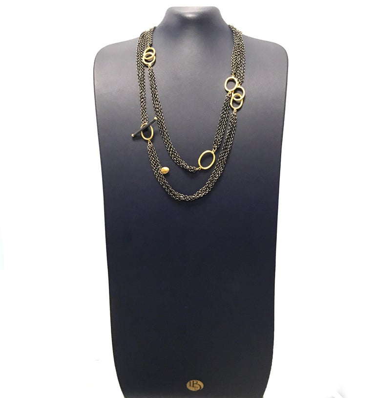 Modern 24 Karat Gold and Oxidized Sterling Silver Necklace For Sale