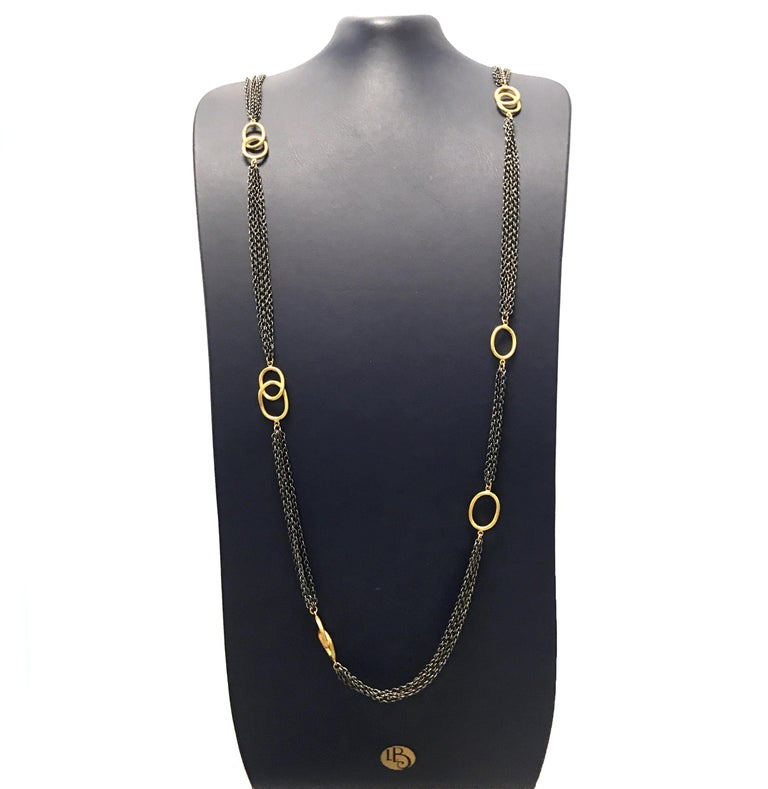 24 Karat Gold and Oxidized Sterling Silver Necklace In New Condition For Sale In Carlstadt, NJ