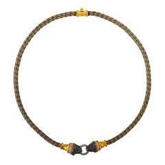 24 Karat Gold und Silber Kombination Handgewebt Hellenistischer Stil Löwenkopf Halskette