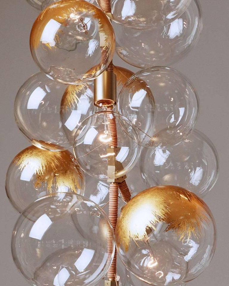 24k Gold Leaf X-Tall Bubble Chandelier by Pelle In New Condition For Sale In New York, NY