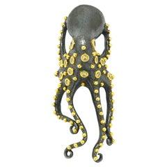 24 Karat Gold Octopus Ring Diamond Tentacles 2-Tone Art Nouveau Style Sea Life
