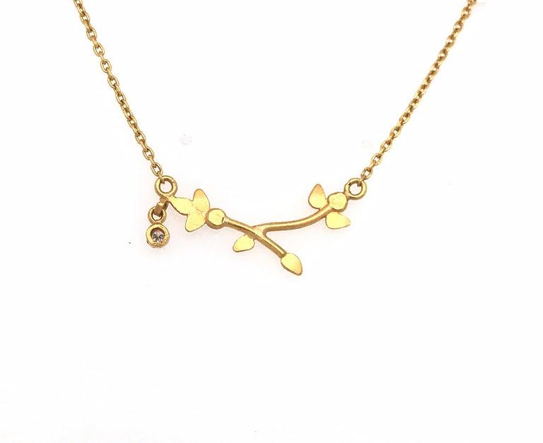Modern 24 Karat Gold Side Drop Diamond Necklace For Sale