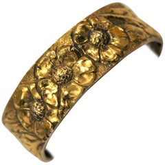 Cuff Bracelet, Pomegranate, 24 Karat Gold, Solid Silver, Handcrafted, Italy