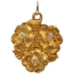 24 Karat Gold Solid Silver Diamonds Pendant Sparkling Petals, Handcrafted, Italy