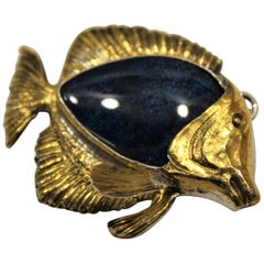 24 Karat Gold, Solid Silver, Fishy Pendant, Handcrafted, Italy