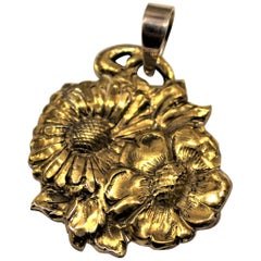24 Karat Gold, Solid Silver, Pendant, Daisy, Handcrafted, Italy